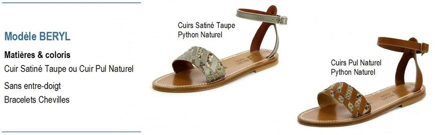 K.Jacques, modèle BERYL, sandale plate cuir satiné avec bracelets chevilles