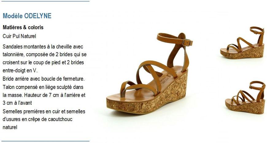 K.Jacques, modèle ODELYNE, sandale en liège à talon compensé cuir naturel avec entre-doigt
