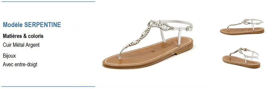 ©K.Jacques, modèle Serpentine, sandale plate en cuir métal argent_Archi'Tendances