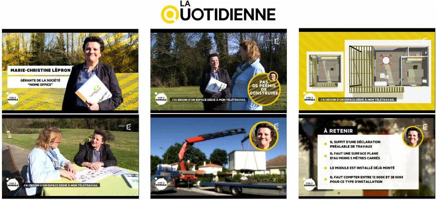 Home Office, la construction de bureaux en kit pour le télétravail sur la Quotidienne France 5
