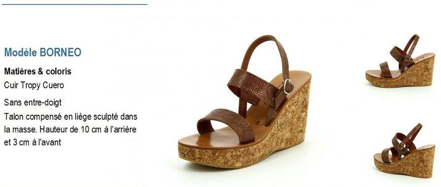 K.Jacques, modèle BORNEO, sandale en liège à talon compensé cuir tropy cuero