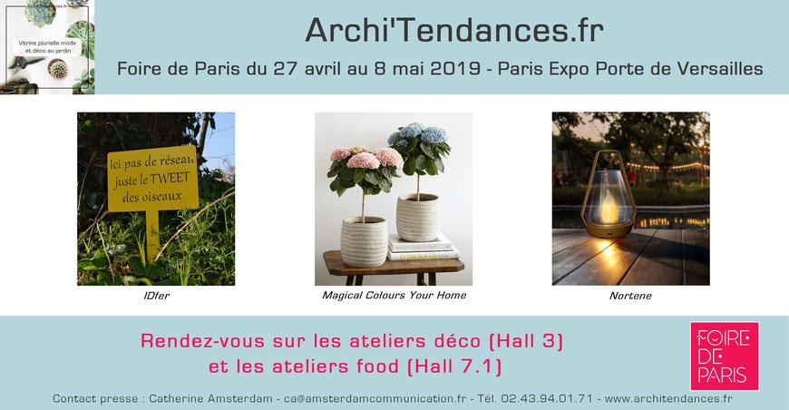 Archi'Tendances présent à la Foire de Paris 2019 avec Trigano Jardin, IDfer, Magical Colours Your Home et Nortene.