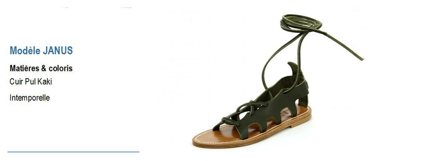 K.Jacques, modèle JANUS, sandale plate cuir pul kaki