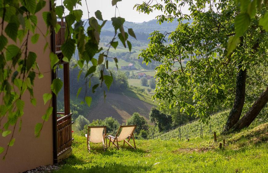 Vuglec Breg svečių namų terasa su vaizdu į vynuogynus