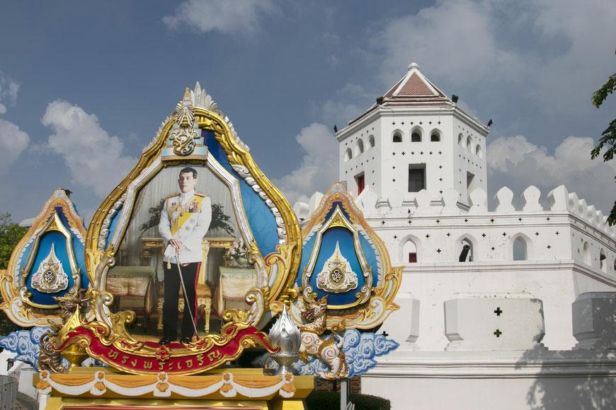 Karaliaus Vajiralongkorno portretas Bankoko senamiestyje Ratanakosine prie gynybinio forto
