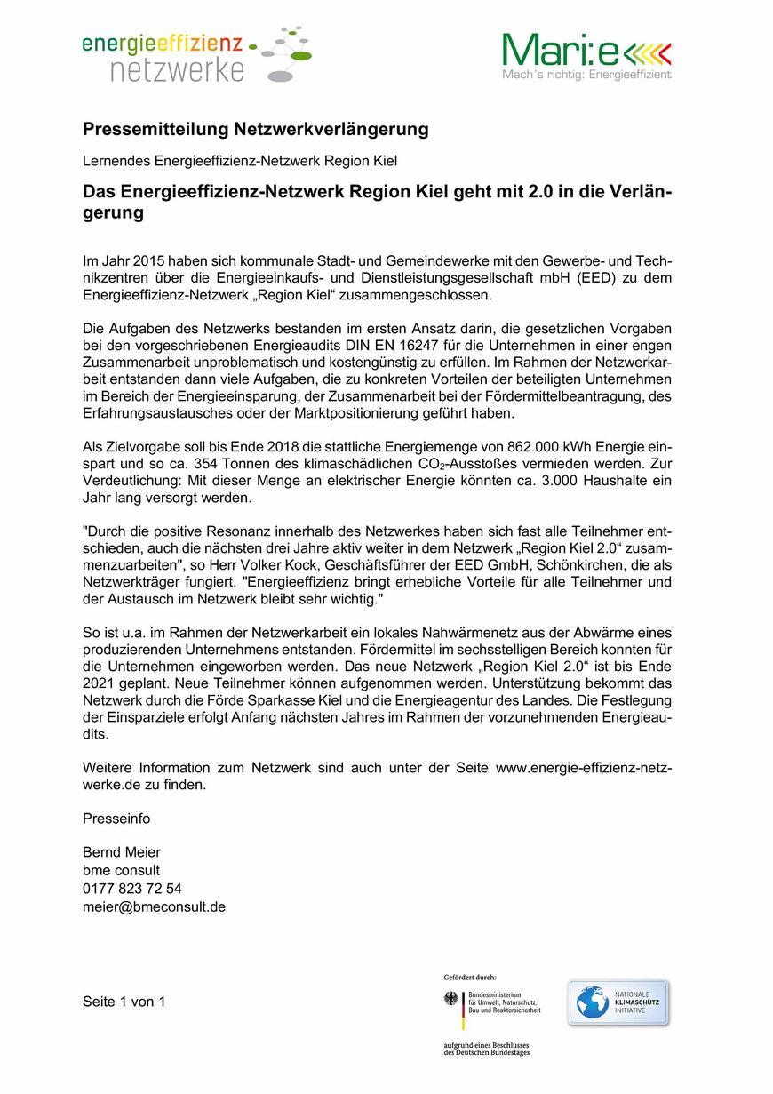 Das Energieeffizienz-Netzwerk Region Kiel geht mit 2.0 in die Verlängerung