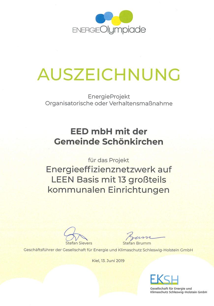 Auszeichnung EnergieOlympiade 2019