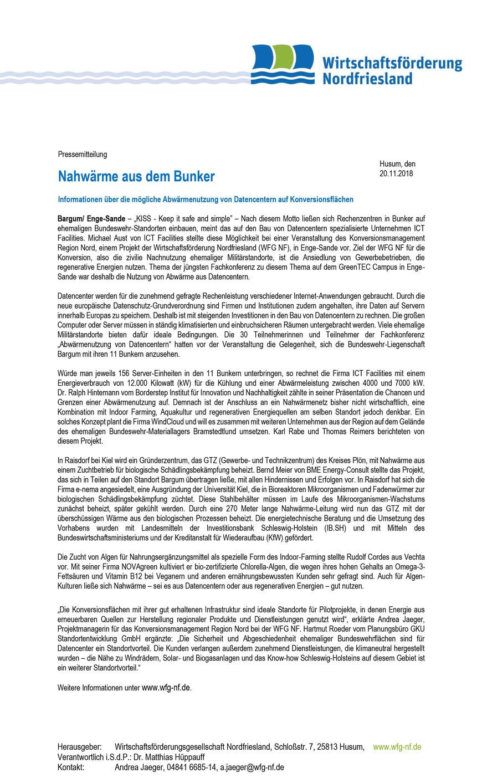 Nahwärme aus dem Bunker: Informationen über die mögliche Abwärmenutzung von Datencentern auf Konversionsflächen