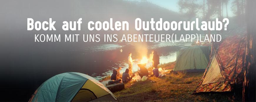 Outdoor Urlaub in Schweden Lappland mit Zelten im Basiscamp in der Wildnis Natur