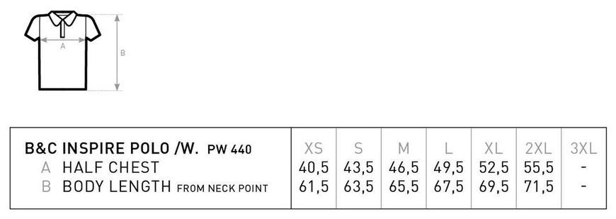 Maßtabelle B&C Inspire Polo Women BCPW440