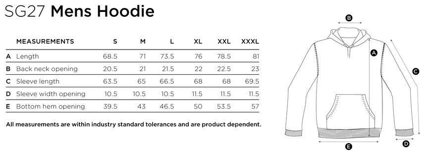 Maße Größen Size Hooded Sweat SG27