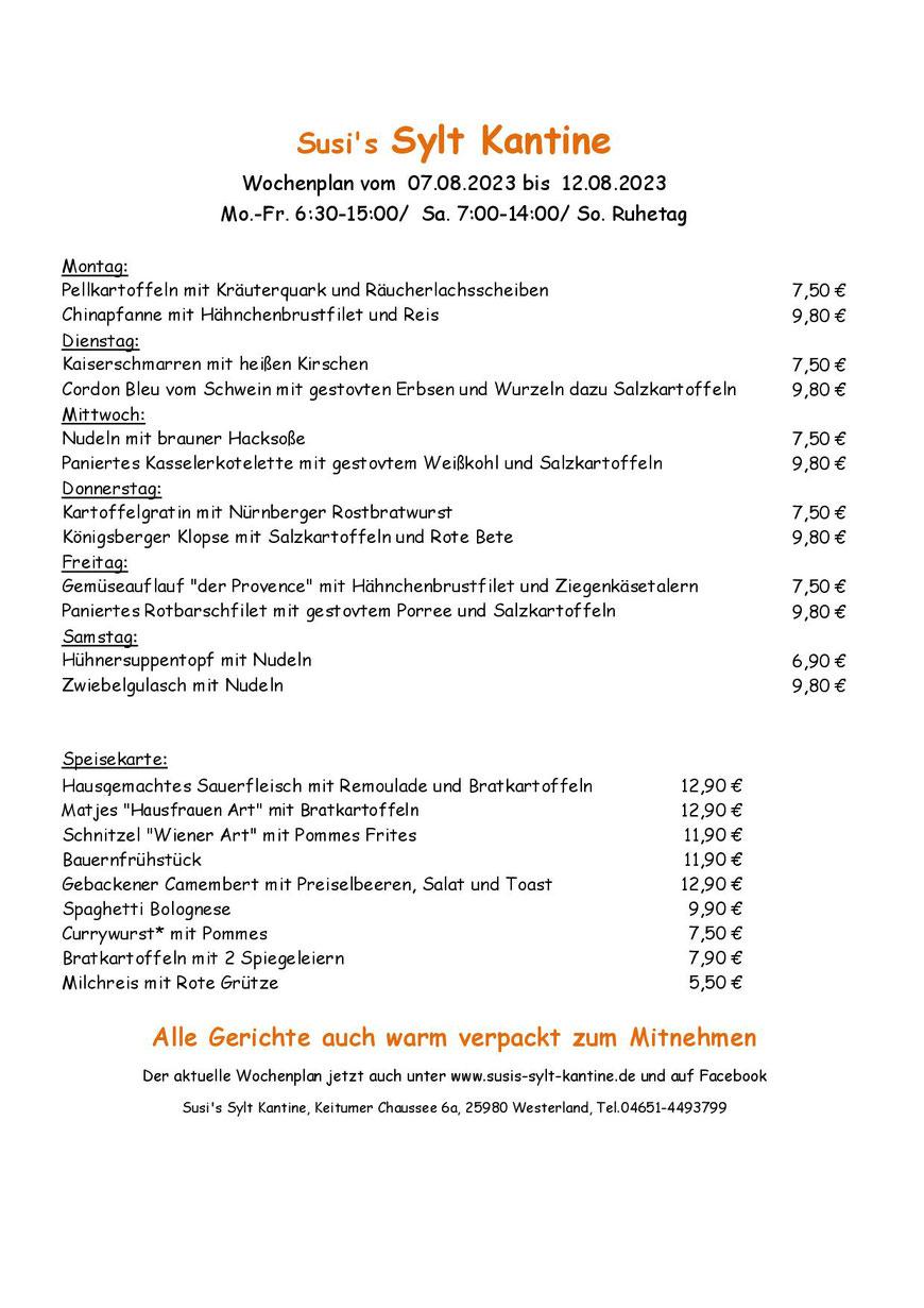 Wochenkarte Susi's Sylt Kantine vom 04.12.2017 - 09.12.2017