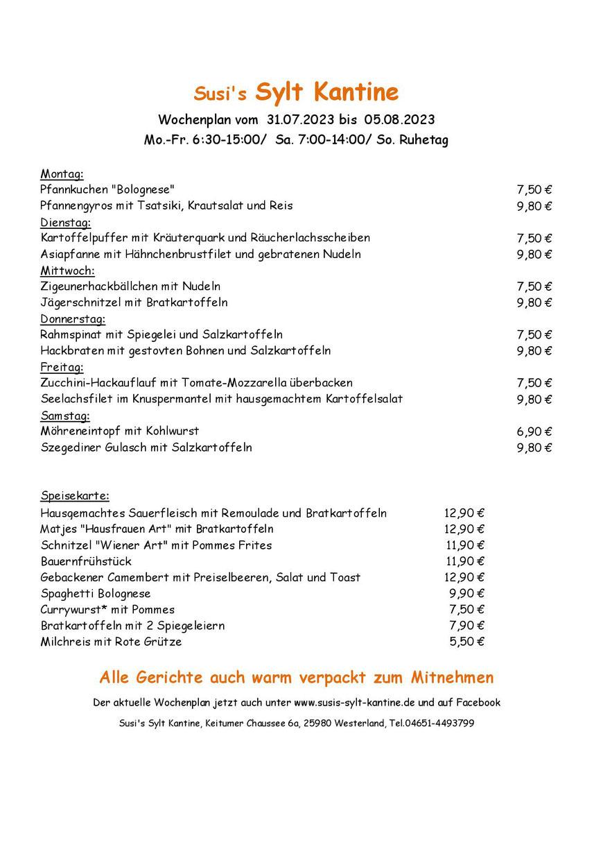 Wochenkarte Susi's Sylt Kantine vom 18.12.2017 - 23.12.2017