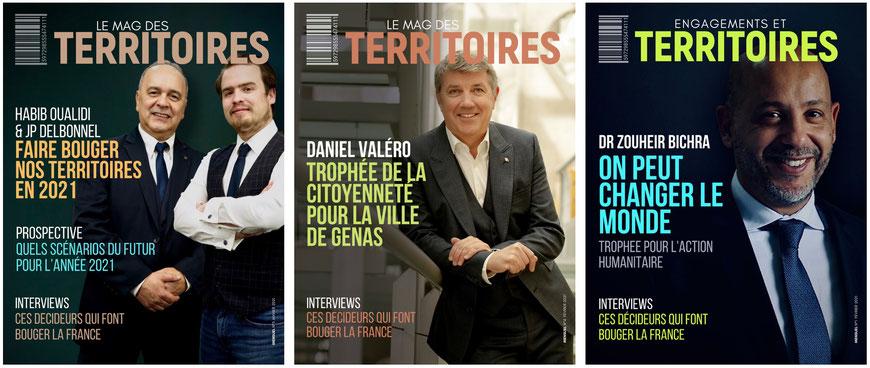Premiers magazines illustrant l'action Trophées des Territoires et les premiers lauréats 2021