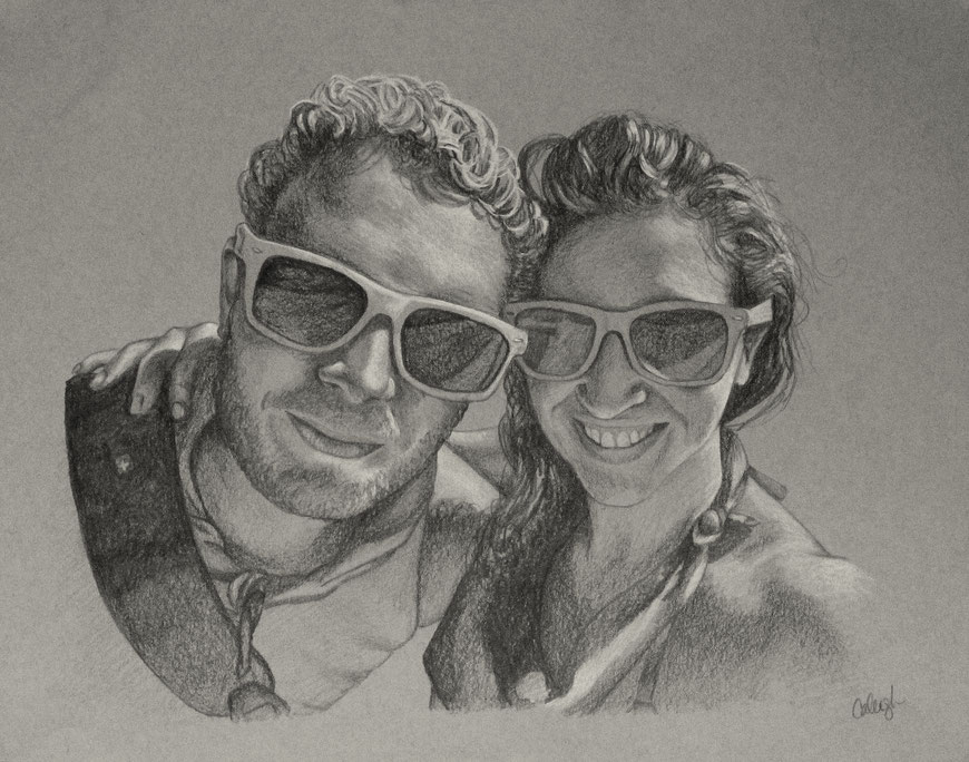 pencil family portrait perfect for wedding anniversary gifts