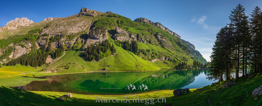 Seealpsee. Spiegelung, Bergpanorama, Bergsee, Alpsteinpanorama, Marcel Schiegg, Schäfler, Ebenalp, Alpstein, Appenzell, Appenzellerland