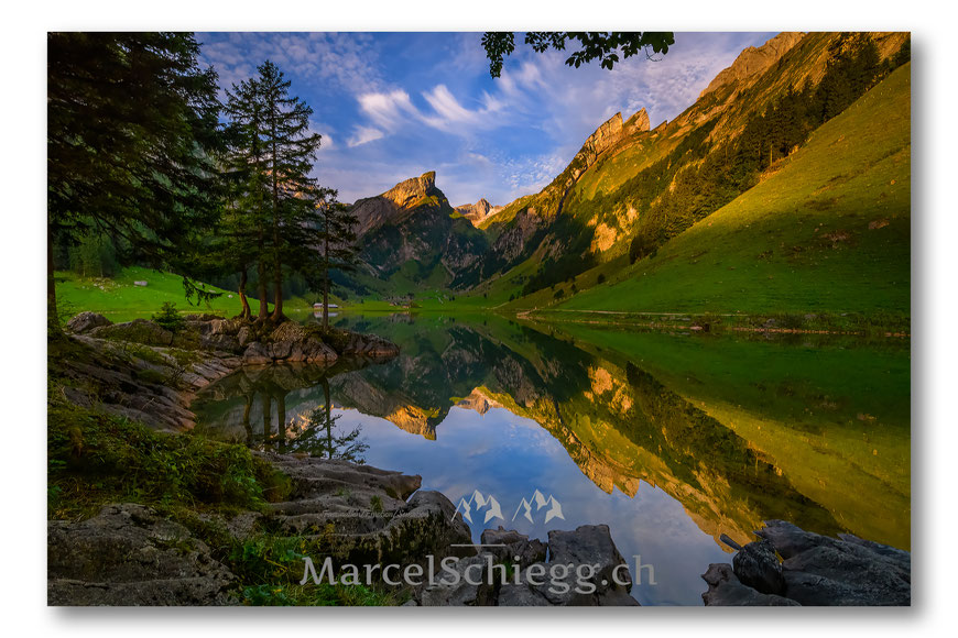 Seealpsee, Alpstein, Appenzell, Appenzellerland, Bergwelt, Spieglung, Marcel Schiegg, Skyporn, Säntis, Schweiz, Ostschweiz, Fotografie, Seealpchaes, Wandern