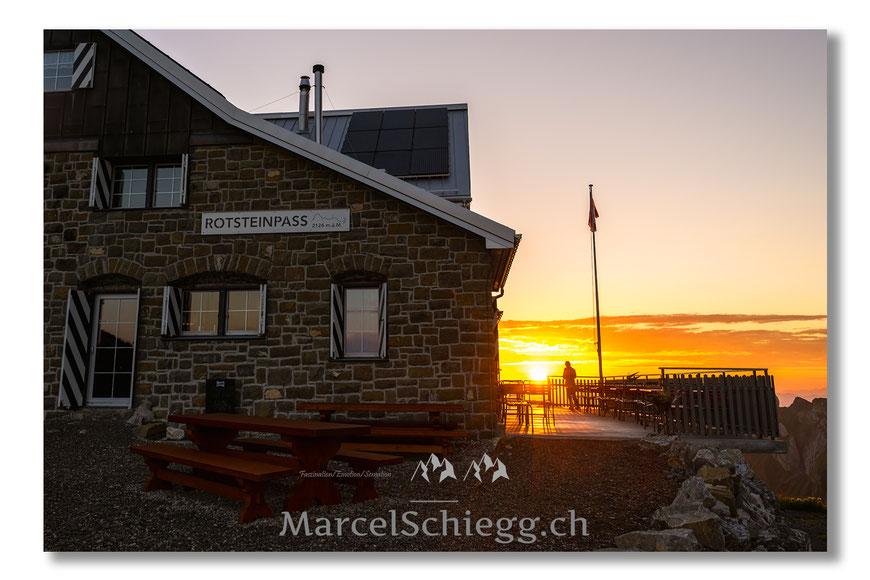 Berggasthaus Rotsteinpass, Rotsteinpass, Alpstein, Appenzell, Appenzellerland, Steinbock, Säntis, Bergwelt, Alpen, Marcel Schiegg, Schweiz, Switzerland