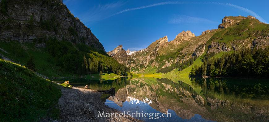 Seealpsee, Panorama, Spiegelung, Appenzell, Appenzellerland, Alpstein, Säntis, Schäfler, Marcel Schiegg