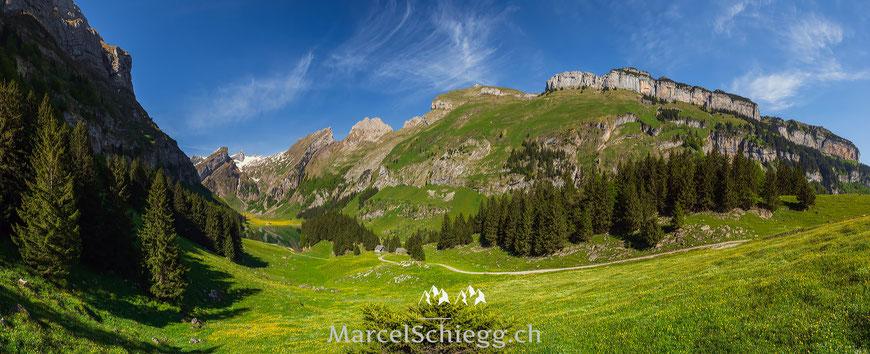Seealpsee. Spiegelung, Bergpanorama, Bergsee, Alpsteinpanorama, Marcel Schiegg, Schäfler, Ebenalp, Alpstein, Appenzell, Appenzellerland, Säntis