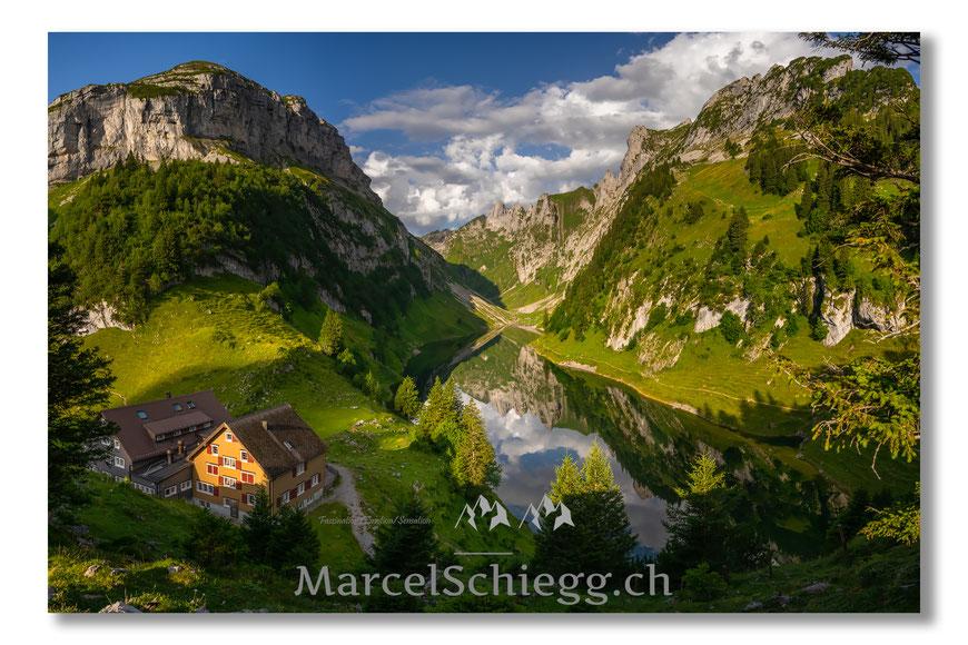 Bollenwees, Fählensee, Spiegelung, Appenzell, Appenzellerland, Alpstein, Schweiz, Panorama, Marcel Schiegg