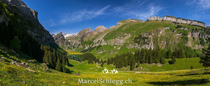 Seealpsee, Panorama, Säntis, Marcel Schiegg, Alpstein, Appenzell, Appenzellerland, Schäfler, Ebenalp, Altenalp, Frühling, Ostschweiz, Switzerland, Swissalps, Alpen, Bergpanorama
