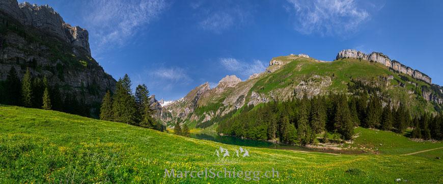 Alpstein, Seealpsee, Marcel Schiegg, Bergpanorama, Alpsteinpanorama, Säntis, Appenzell, Appenzellerland, Schweiz, Schweizer Alpen