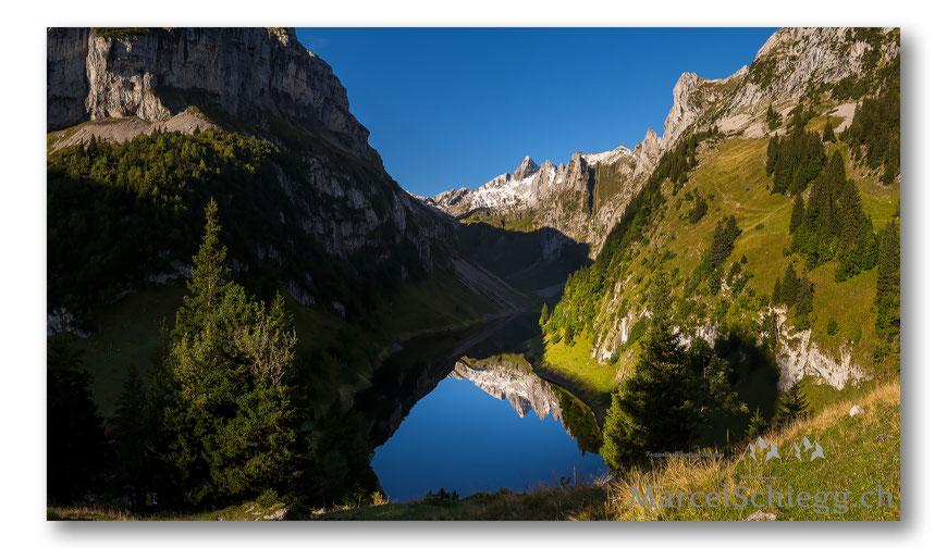 Bollenwees, Fählensee, Panorama, Altmann, Hundstein, Spiegelung, Marcel Schiegg, Alpstein, Alpsteinpanorama, Appenzell, Appenzellerland, Berggasthaus Bollenwees