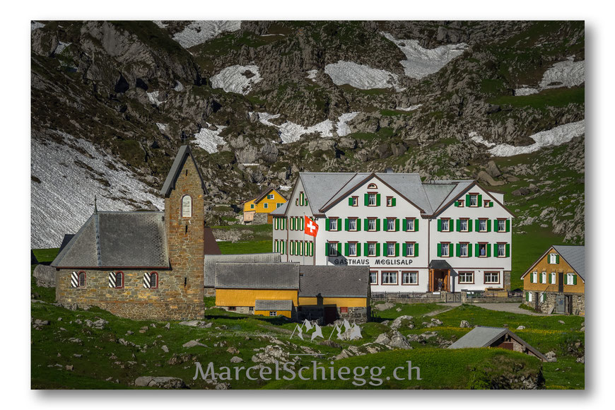 Meglisalp, Appenzell, Appenzellerland, Frühling, Schnee, Altmann, Alpen, Schweiz, Alpstein, Marcel Schiegg, Sepp Manser, Morgenstimmung, Gasthaus Meglisalp, Rotsteinpass