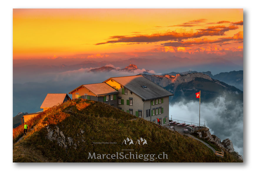 Schäfler, Berggasthaus Schäfler, Alpstein, Appenzell, Appenzellerland, Bergwelt, Switzerland, Schweiz, Marcel Schiegg, Hoher Kasten, Sonnenaufgang, Sunrise