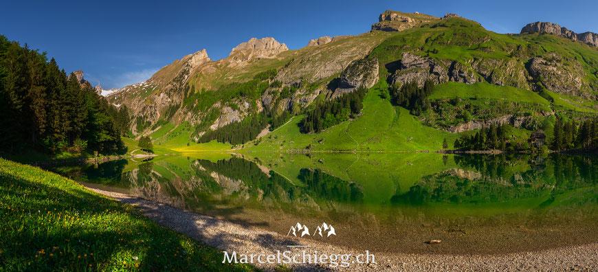 Seealpsee, Panorama, Spiegelung, Appenzell, Appenzellerland, Alpstein, Säntis, Schäfler, Marcel Schiegg, Altenalp, Ebenalp, Frühling