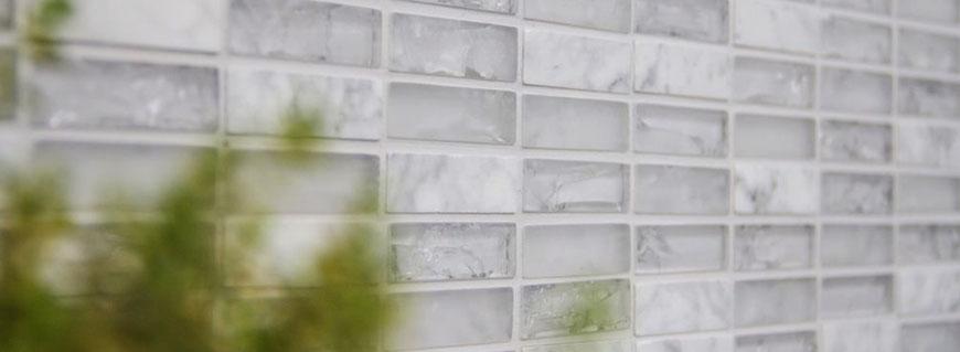 Mosaico marmo vetro Brick bianco - Mosaix