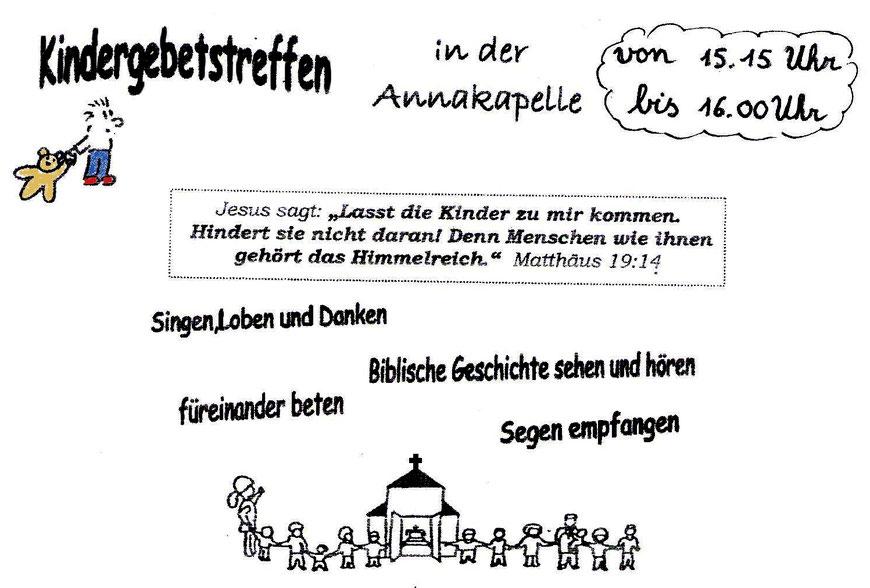 Kindergebetstreffen 15. Oktober 2020 in der Annakapelle von St. Martin Hergenrath