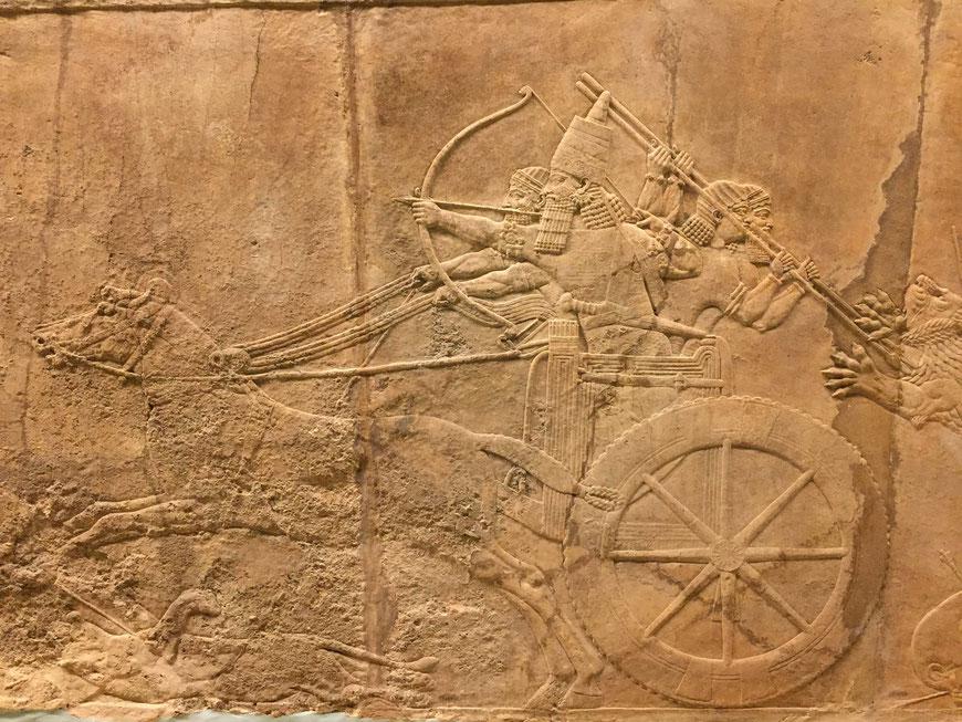 Assurbanipal im Streitwagen auf Löwenjagd