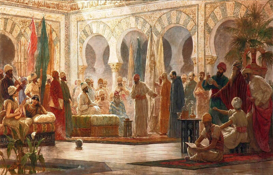 Johannes von Gorze trifft den Kalifen von Córdoba. Gemälde von Dionisio Baixeras, 1885
