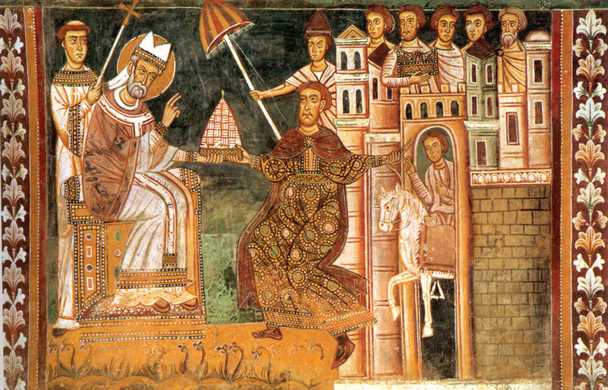 Fresko Silvesterkapelle der Basilika Santi Quattro Coronati in Rom, 1247. Konstantin, vom Aussatz geheilt, übergibt Silvester gemeinsam mit den Römern die Stadt Rom.