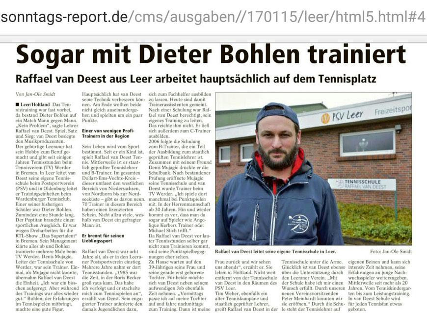 Tennisschule Raffael van Deest Presse Sonntags Report Dieter Bohlen