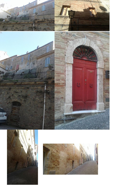 L'ex palazzo Capecci ad Acquaviva Picena, di 5 piani e 18 stanze,  cosi come si presenta oggi nelle sue due facciate, una sulle mura antiche ed una sul centro del paese.