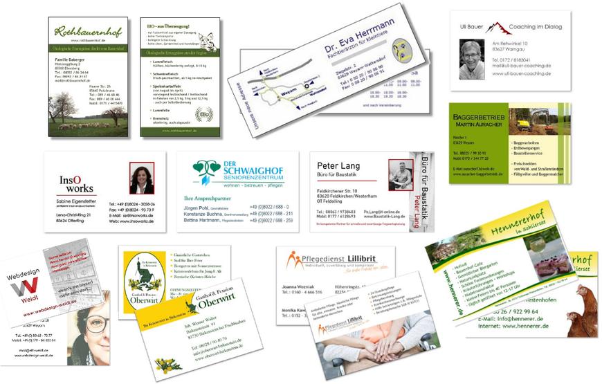 Beispiele von Visitenkarten-Entwürfen - Webdesign Weidl