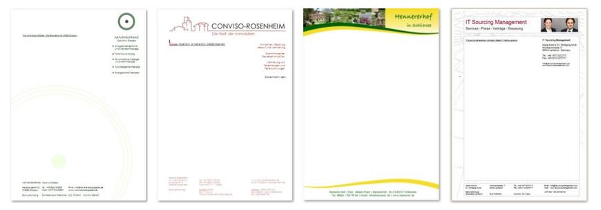 Gestaltung von Briefpapier - Webdesign Weidl