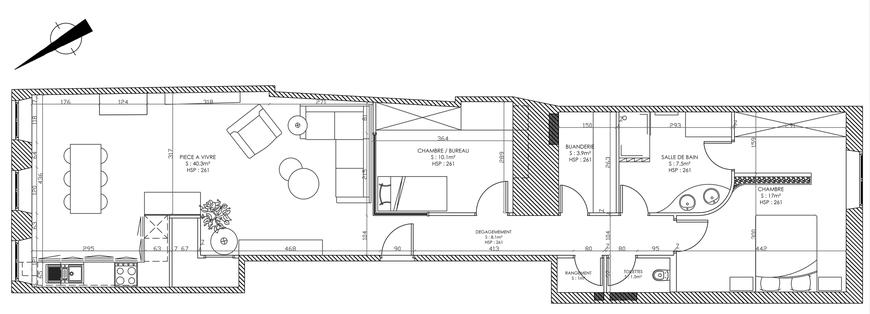 T3 au centre ville tout en longueur pyxis home design for Appartement f3 design
