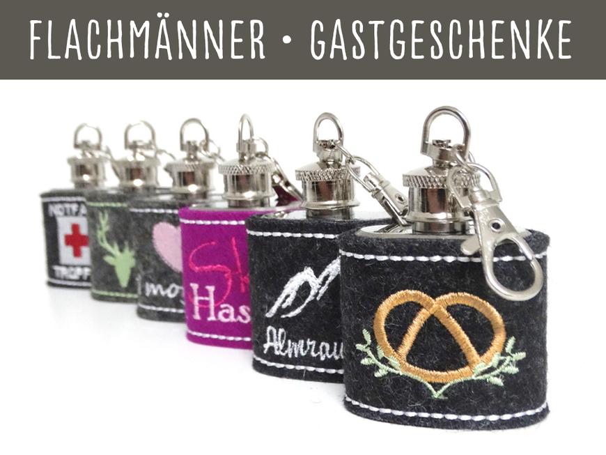 Flachmann Flachmänner Filz bestickt Geschenk personalisierbar Name Wichtelgeschenk Weihnachtsgeschenk Geburtstag