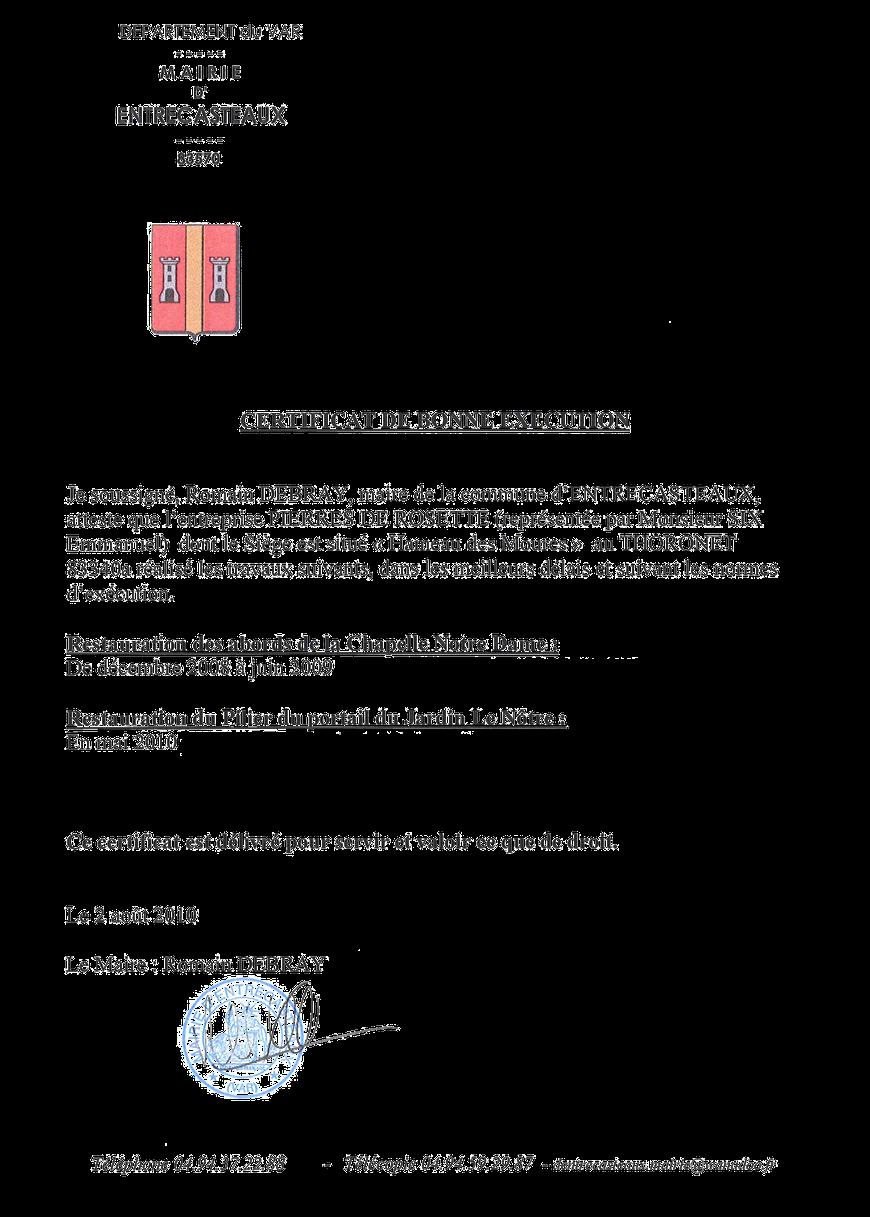 certificat-restauration-chapelle-entrecasteaux-pierre-monument-historique-var-83-mh