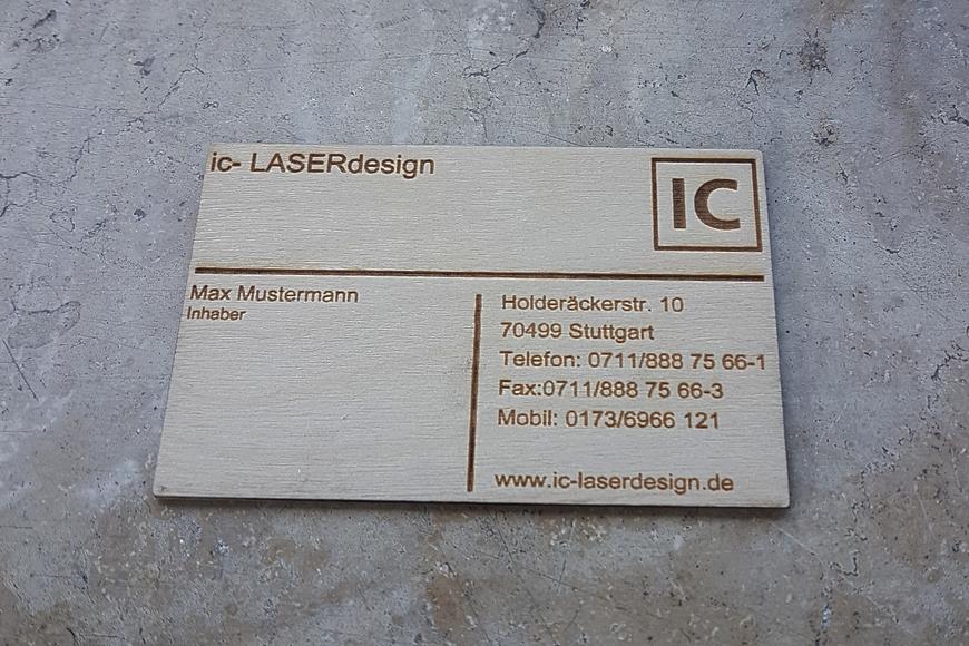 visitenkarten holz gravur ic laserdesign gravuren und. Black Bedroom Furniture Sets. Home Design Ideas