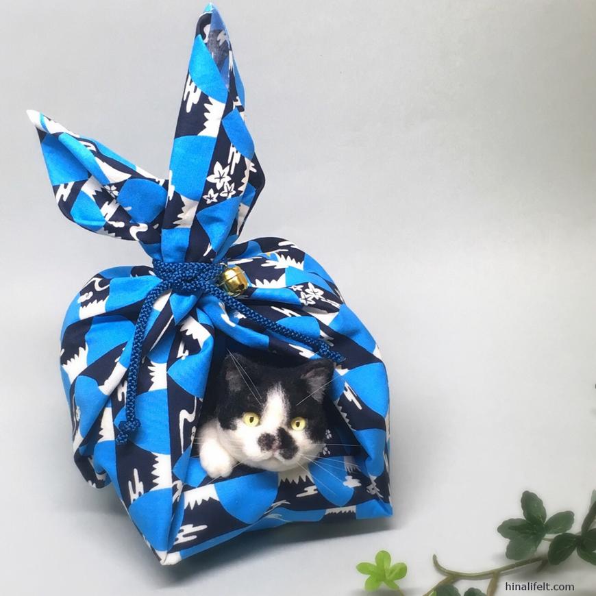 羊毛フェルト 風呂敷包み 八割れ猫