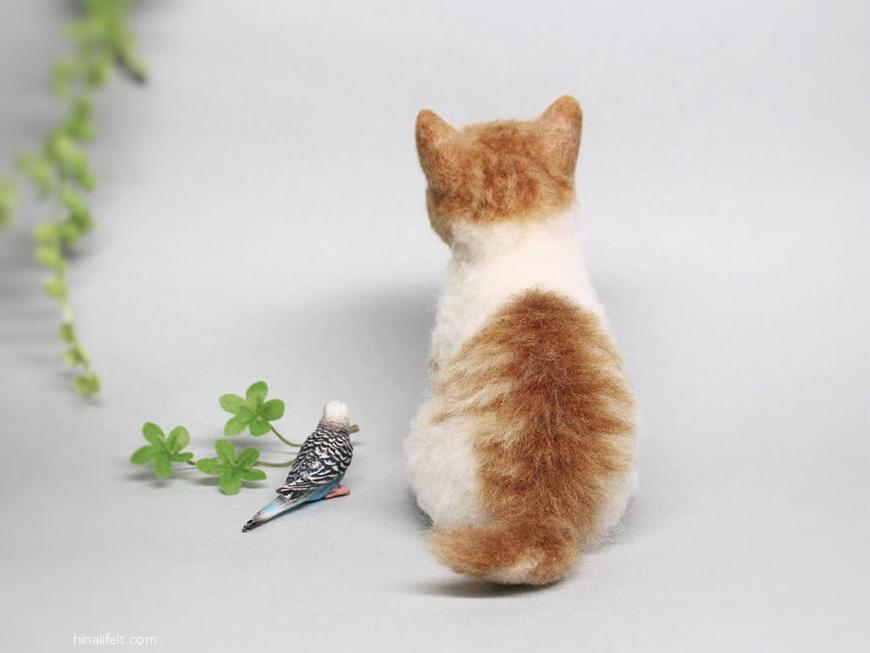 羊毛フェルト猫 茶白 needlefeltd cat