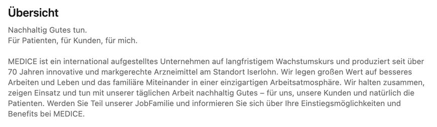 Übersicht-Text der MEDICE Arzneimittel Pütter GmbH & Co. KG