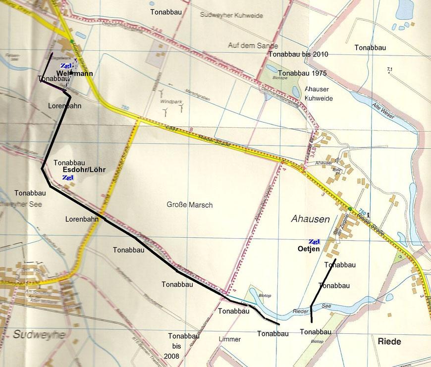 Ortsplan Weyhe v. 2008 mit eingezeichnetem Verlauf der ehemaligen Feldbahnen
