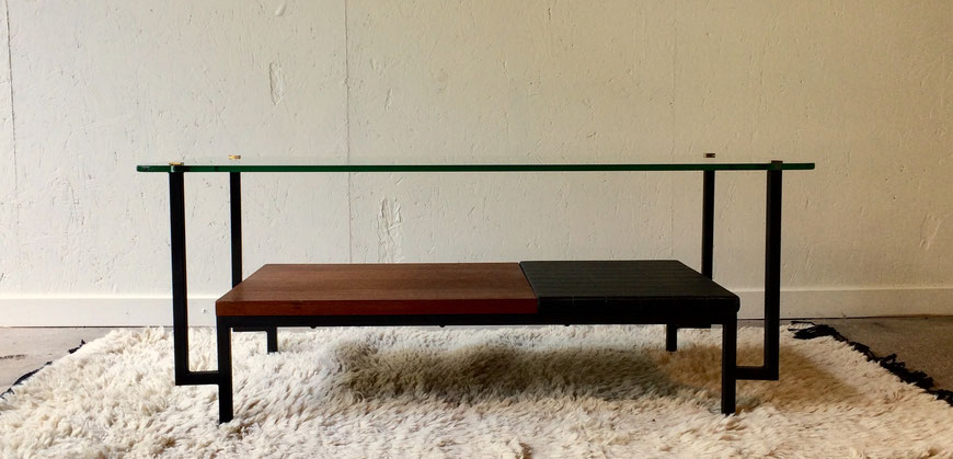 table basse vintage, Georges Frydman, table moderniste, années 50, meubles EFA, Alain Richard, table basse teck