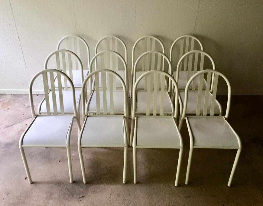 chaises vintage, Mallet-stevens, chaise métal, chaise tubulaire, chaise 70's, chaise blanche
